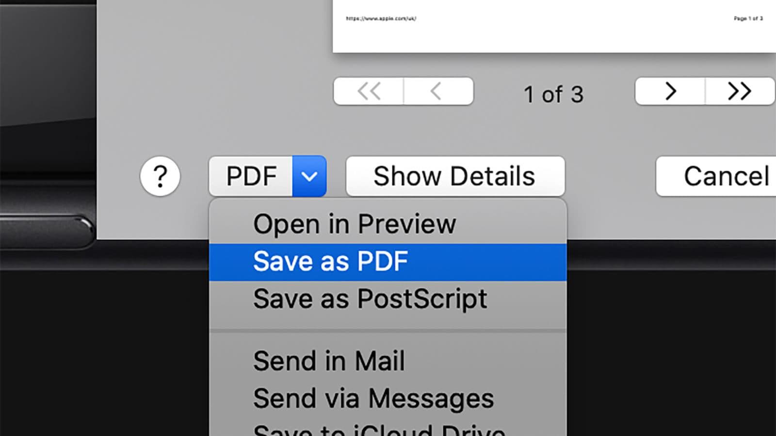 Salvando PDFs a partir da caixa de diálogo de impressão do macOS