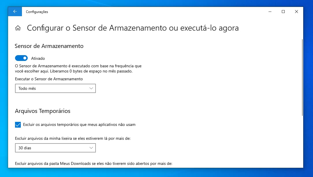 Menu do Sensor de Armazenamento do Windows 10