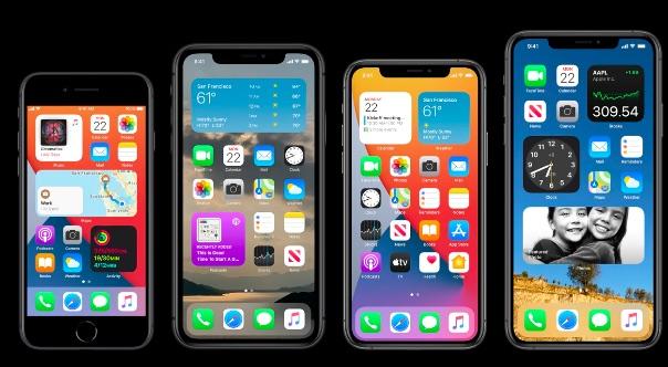 Tela do iOS 14 com apps e widgets