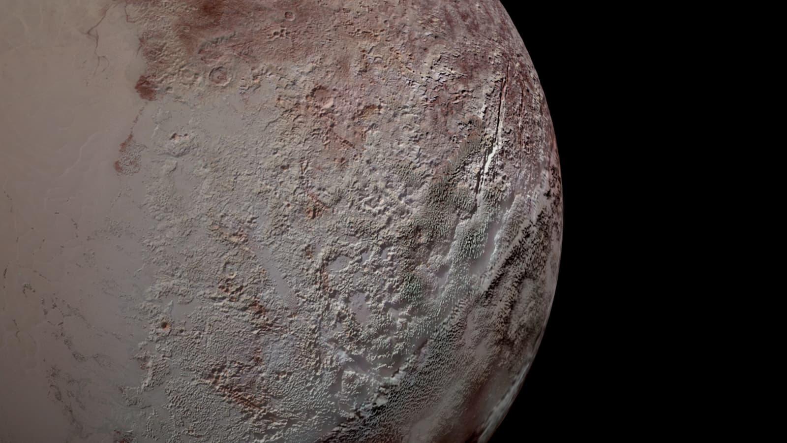 O terreno laminado de Plutão