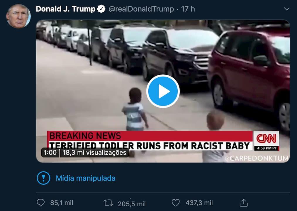 """Tuíte de Trump com vídeo marcado como """"mídia manipulada"""""""