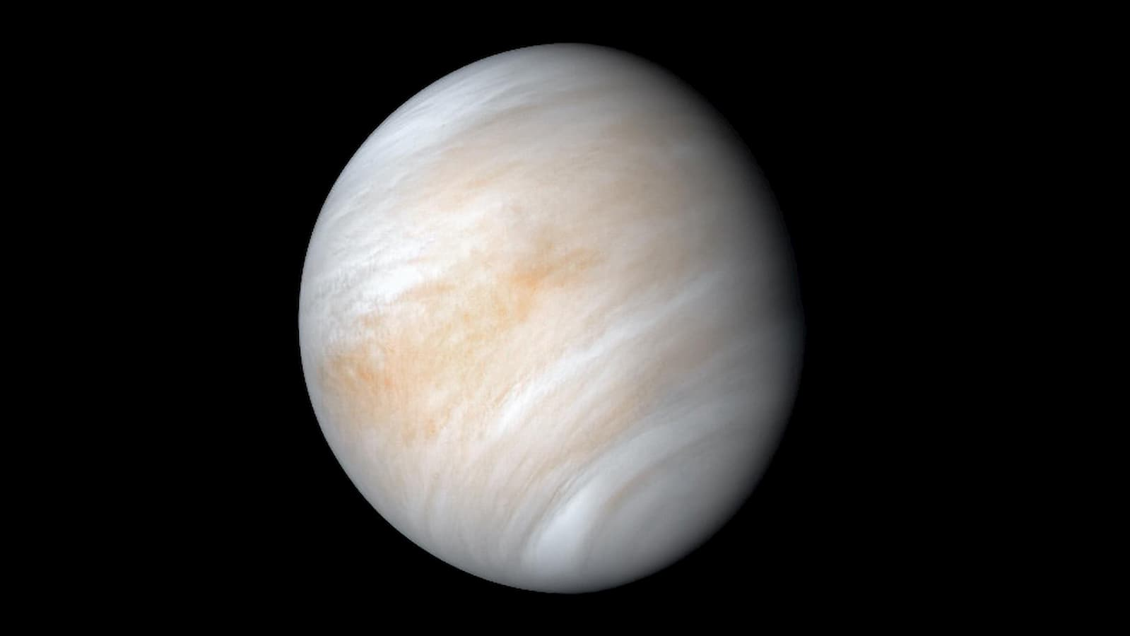 Uma imagem de Vênus, vista pela sonda Mariner 10 em 1974.