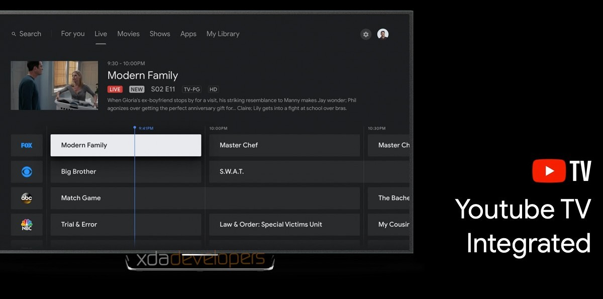 Tela do YouTube TV no novo dispositivo que vai substituir o Chromecast