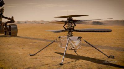 Conceito artístico da Ingenuity em Marte. Crédito: NASA/JPL-Caltech