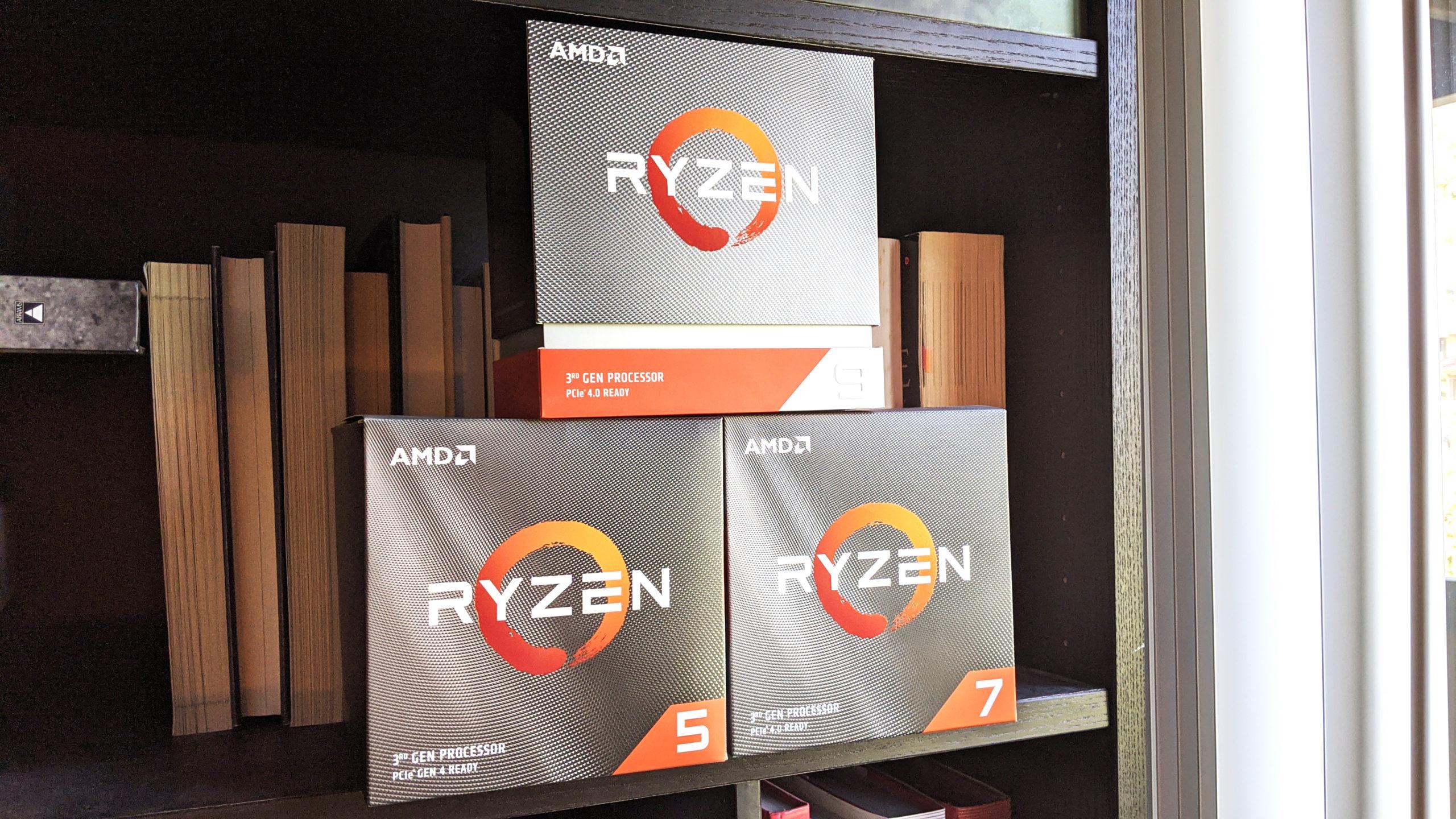 Caixas das CPUs AMD Ryzen para desktop. Crédito: Gizmodo
