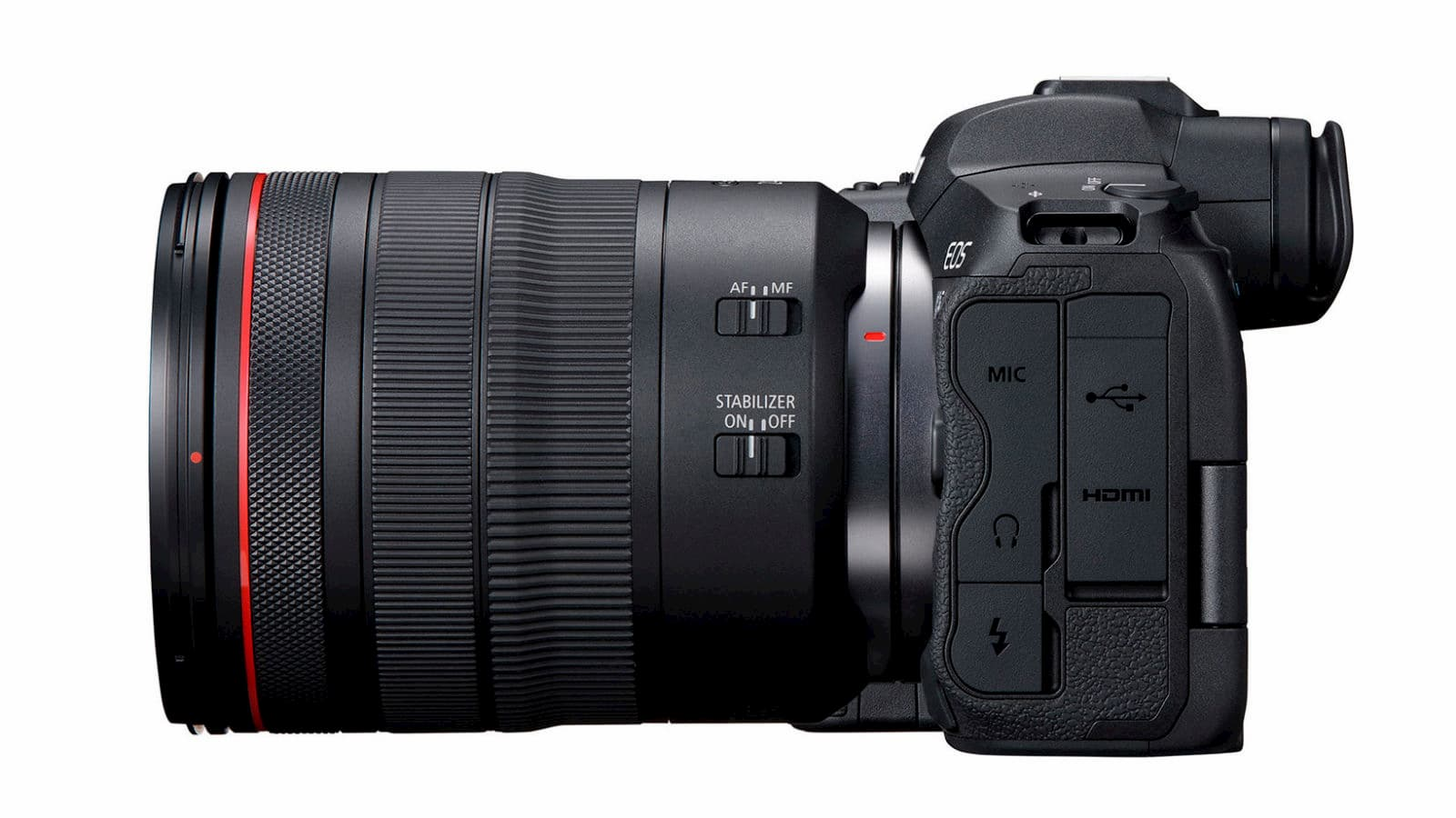 Visão lateral das entradas da Canon EOS R5