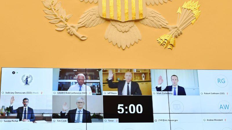 CEOs do Facebook, Google, Amazon e Apple participam de teleconferência em audiência no Congresso dos EUA. Crédito: Mandel Ngan/Getty Images