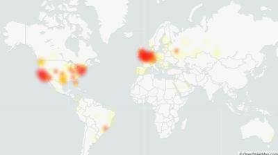 Mapa mostra EUA e Europa com principais afetados de instabilidade do Cloudflare. Crédito: Downdetector