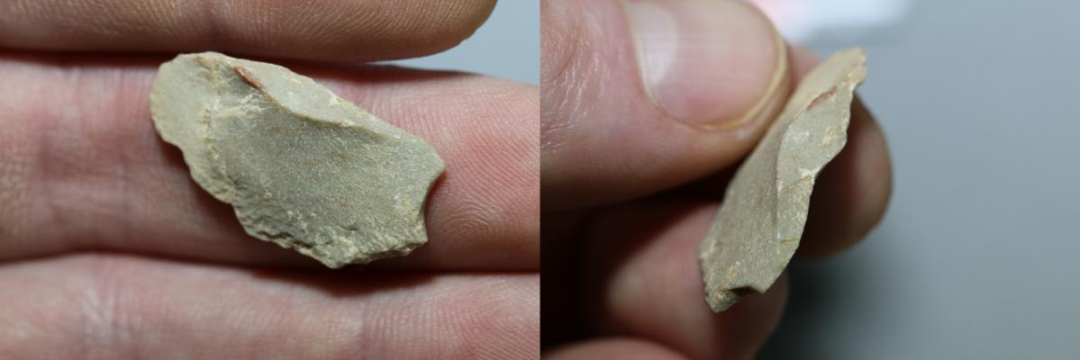Ferramenta de pedra, feita de calcário, encontrada na caverna Chiquihuite, no México. Crédito: Ciprian Ardelean