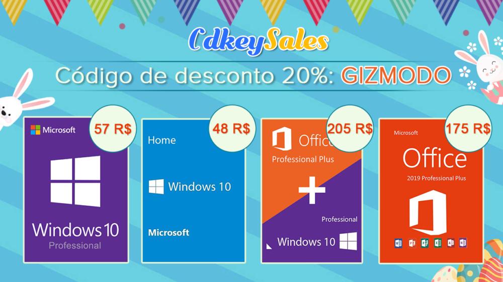 Desconto imperdível em Pacote Office e Windows 10? Confira o código exclusivo do Gizmodo Brasil
