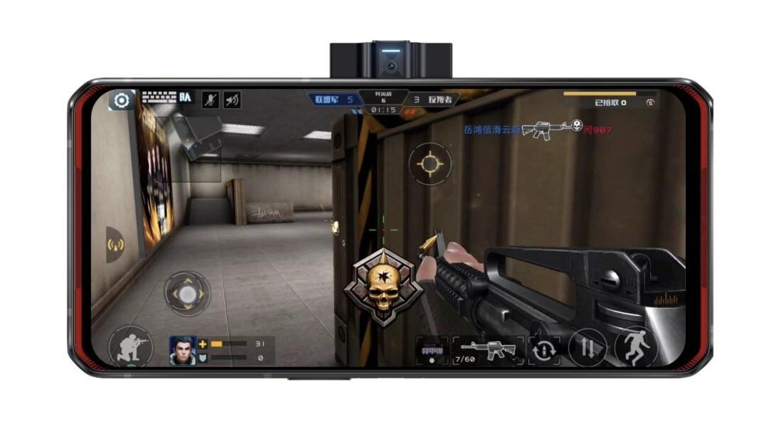 Jogo de tiro rodando na tela do Legion Phone Duel, da Lenovo. Crédito: Lenovo
