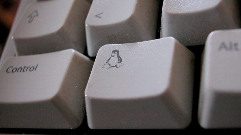 Tecla de teclado com o mascote do Linux, um penguim