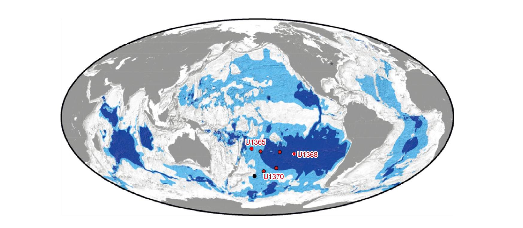 Mapa mostrando os locais de expedição. Crédito: : Y. Morono et al., 2020
