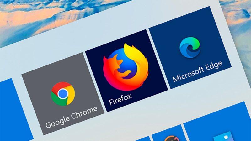 Ícone dos navegadores Chrome, Firefox e Edge