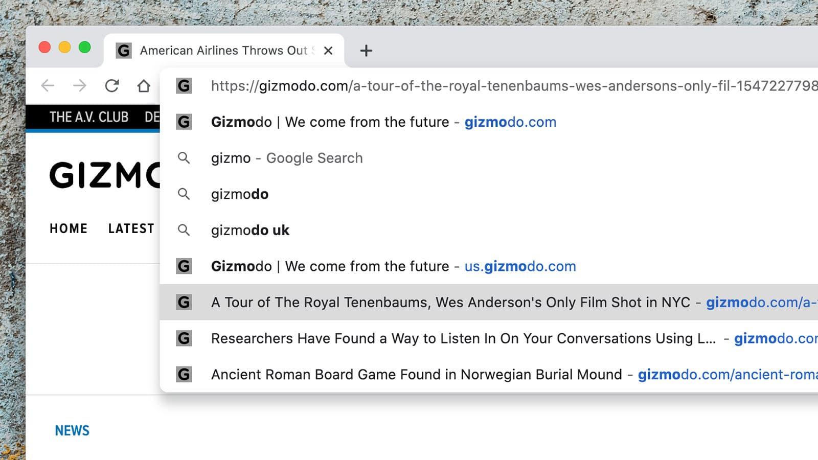 Sugestões de páginas na barra de endereços do Chrome