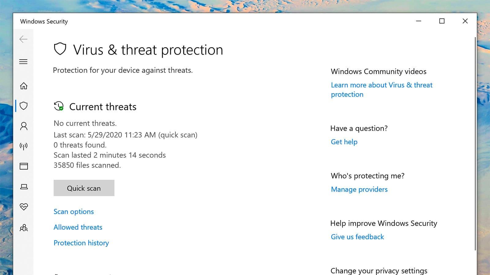 Menu de proteção à vírus do Windows 10