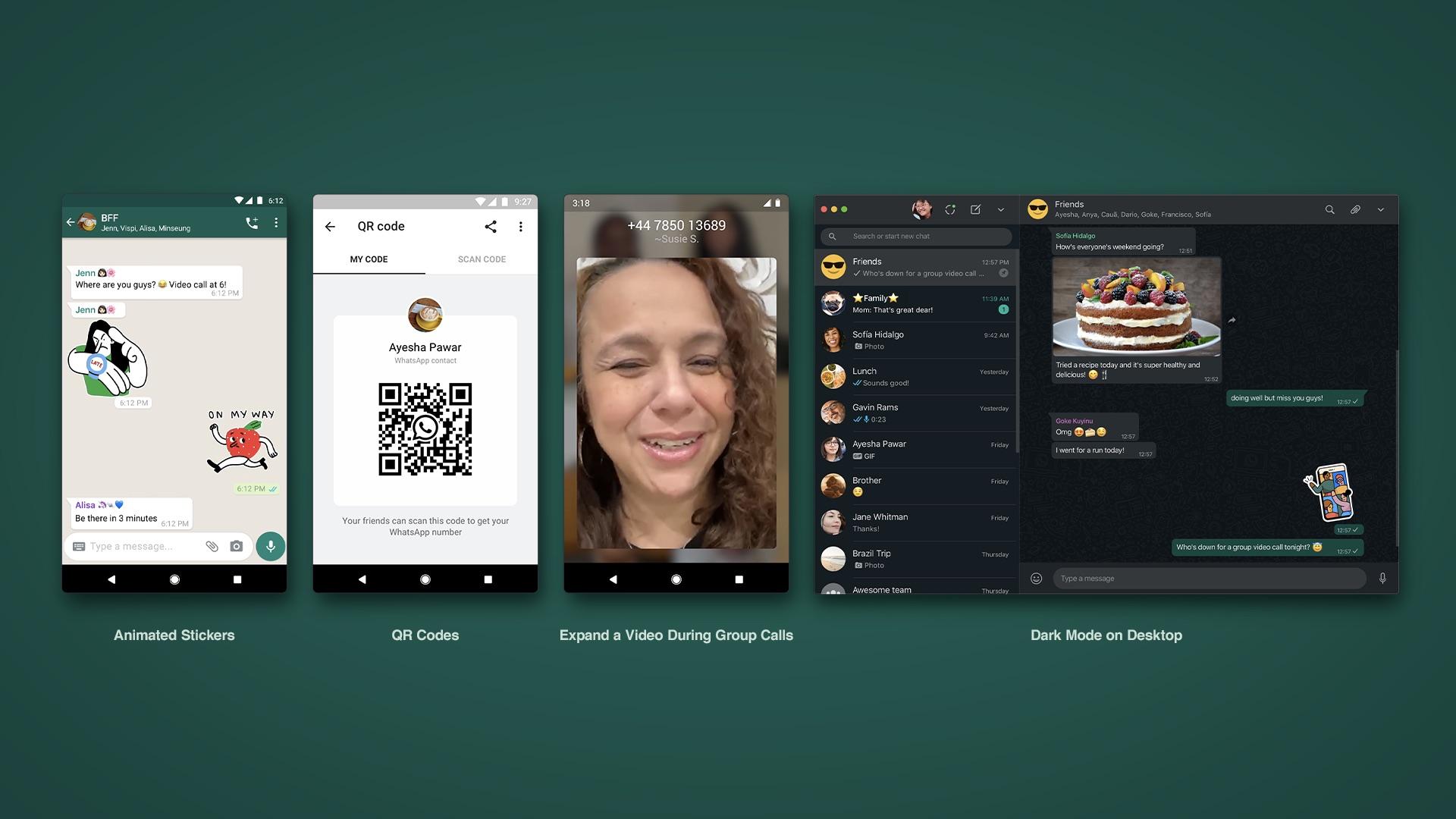 Recursos novos do WhatsApp: figurinhas animadas, adição de contatos via QR Code, expansão de quadro durante chamada de vídeo e modo escuro