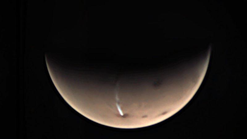 A AMEC (ou nuvem alongada Arsia Mons), em Marte. Crédito: ESA/GCP/UPV/EHU Bilbao