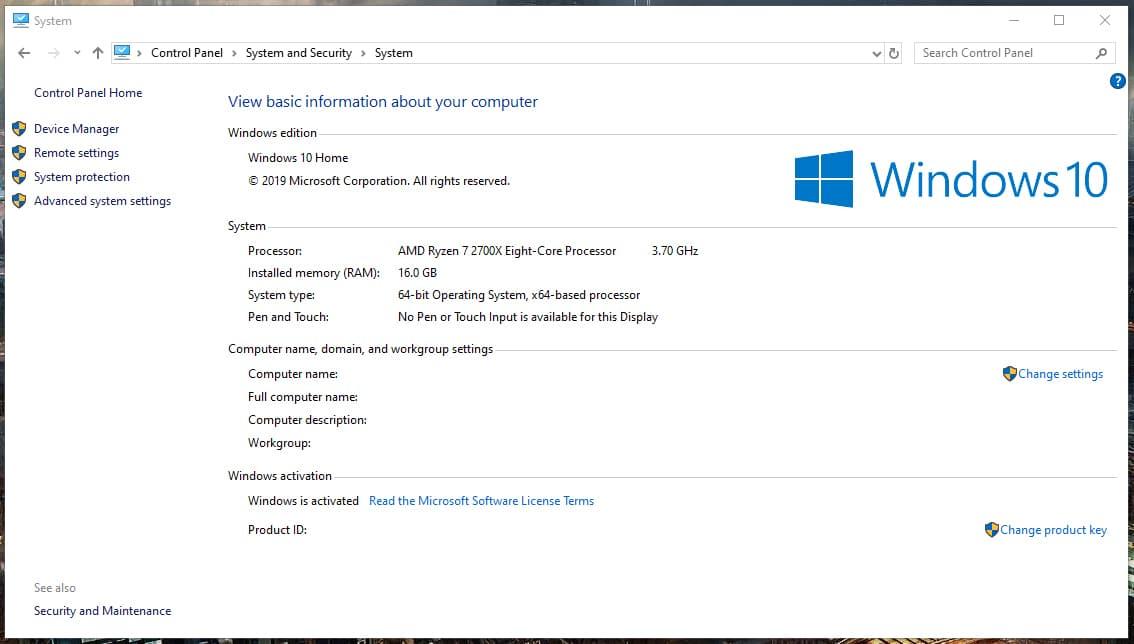Informações do sistema no Painel de Controle do Windows 10