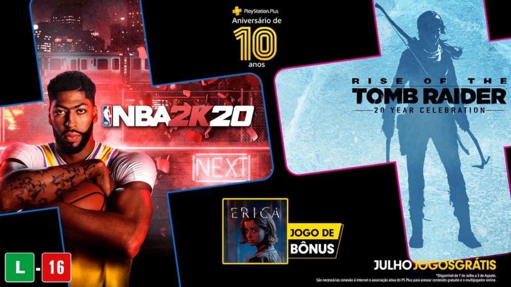PS Plus de julho de 2020: NBA 2K20 e Rise of the Tomb Raider grátis este mês