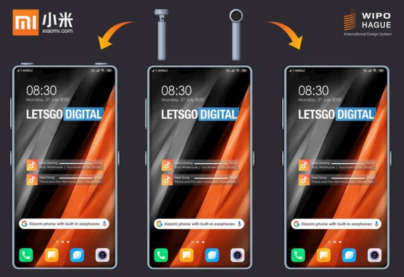 Conceito baseado em patente da Xiaomi para celular com espaço para guardar fones de ouvido