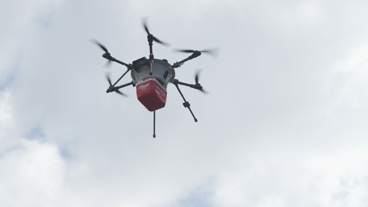 Drone o do iFood no ceu. Creidto: iFood