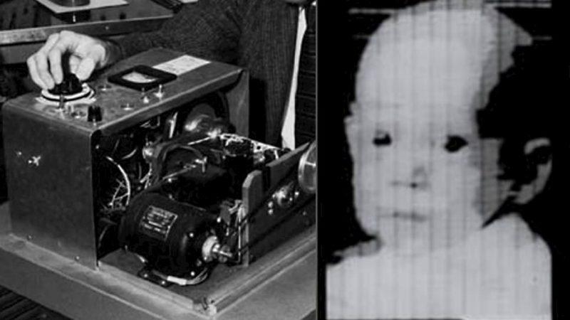 O primeiro scanner digital, usado para fazer a primeira foto digital em 1957 (esquerda) e a primeira foto digital, uma imagem do bebê de Russell Kirsch em 1957 (direita)