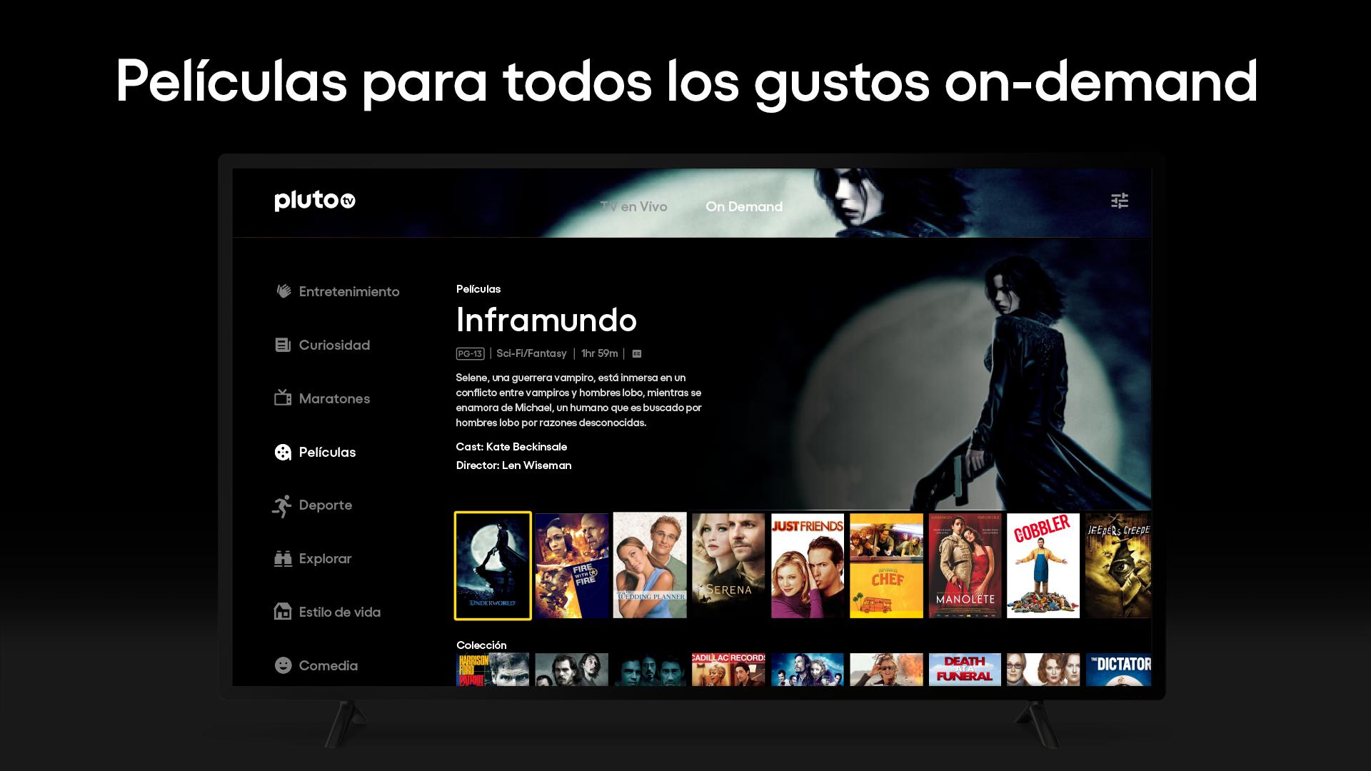 Interface do Pluto TV, serviço de streaming gratuito. Crédito: Divulgação