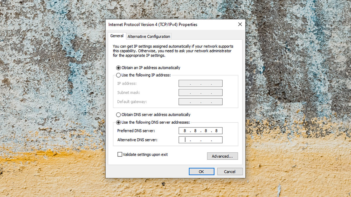 Configuração de DNS no Windows. Crédito: Captura de tela