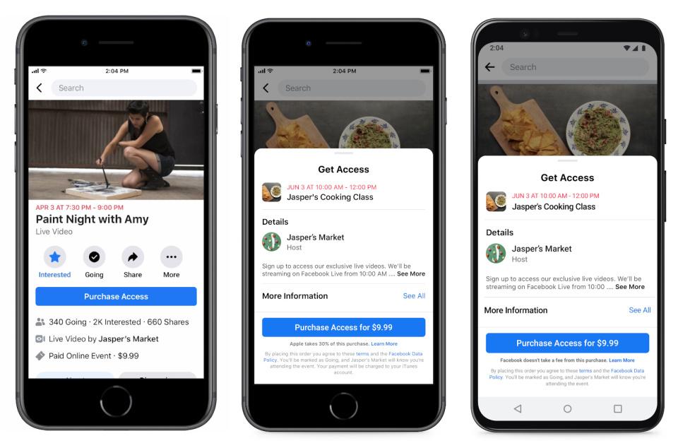 Facebook tenta alertar usuários sobre taxa de 30% da App Store. Crédito: Facebook