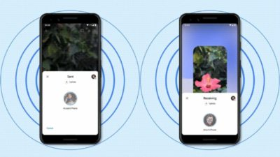 Ilustração de dois smartphones Android usando o Nearby Sharing