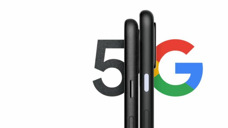 """Laterais do Pixel 4a 5G e Pixel 5 com inscrição """"5G"""" ao fundo"""