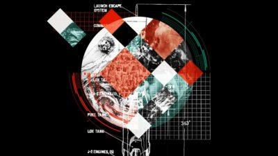 Ilustração com montagem de várias imagens, como homem vitruviano, de Leonardo Da Vinci. Ilustração por Elena Scotti com imagens AP, Getty Images e NASA