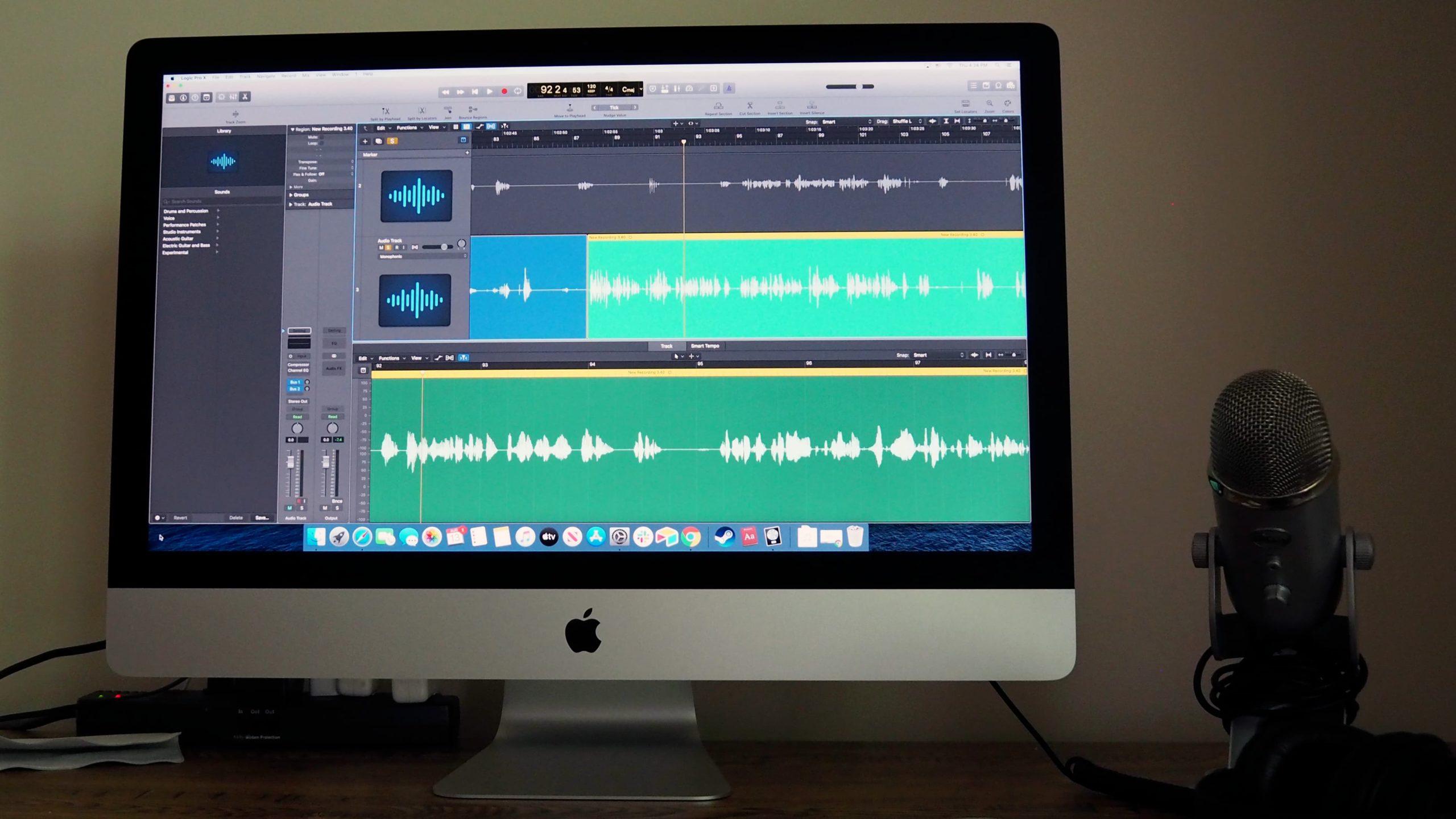 Para trabalhos criativos, como edição de áudio, o iMac brilha. Crédito: Detalhe do pano que acompanha o iMac de 27 polegadas. Crédito: Caitlin McGarry/Gizmodo