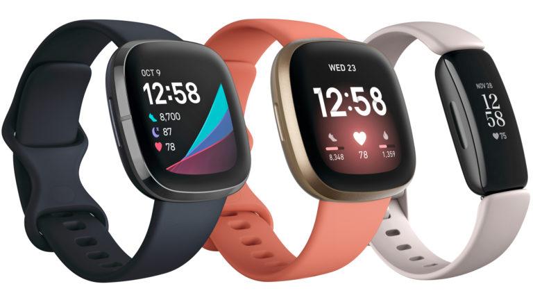 Fitbit Sense, Versa 2 e Inspire 2. Crédito: Fitbit