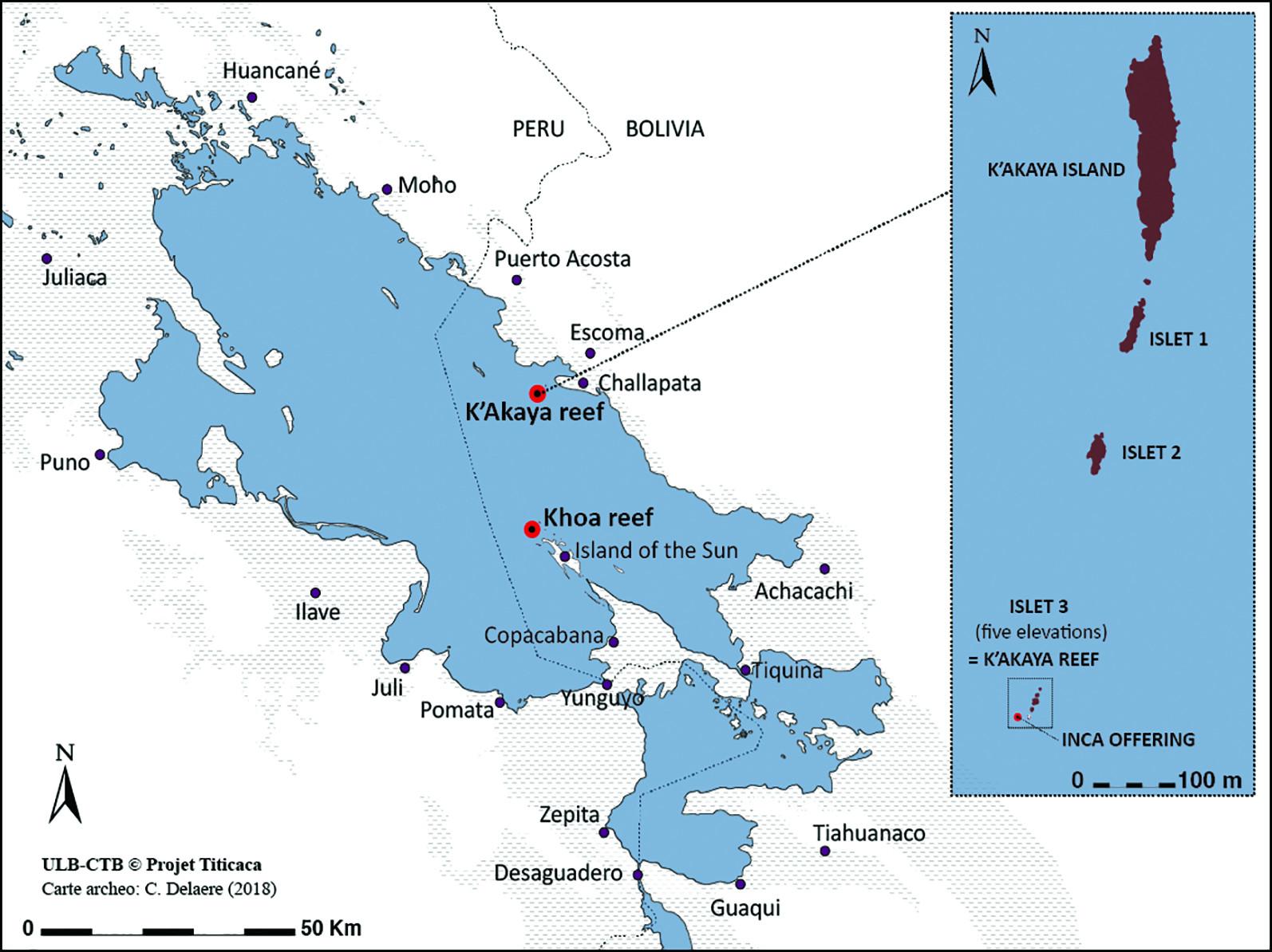 Mapa do lago Titicaca com a localização dos corais. Crédito: C. Delaere