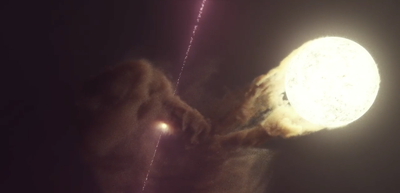 Concepção artística do microquasar SS 433, com um buraco negro, disco de acreção e jatos à esquerda, e sua estrela, que esta se livrando de seu material, à direita. Imagem por DESY e Science Communication Lab