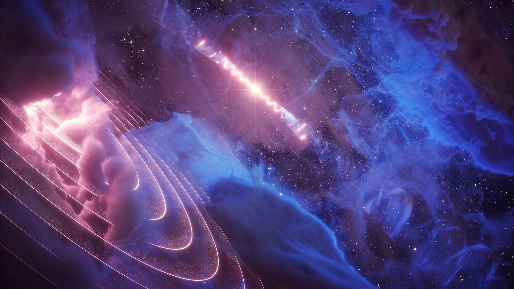 Os dois jatos estreitos têm um formato semelhante a um saca-rolhas devido à precessão, ou oscilação, do disco de acreção do buraco negro. Imagem por DESY e Science Communication Lab