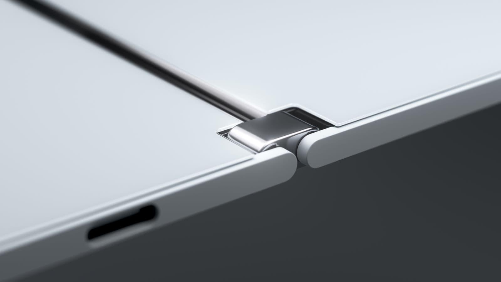 Detalhe da dobradiça do Microsoft Surface Duo