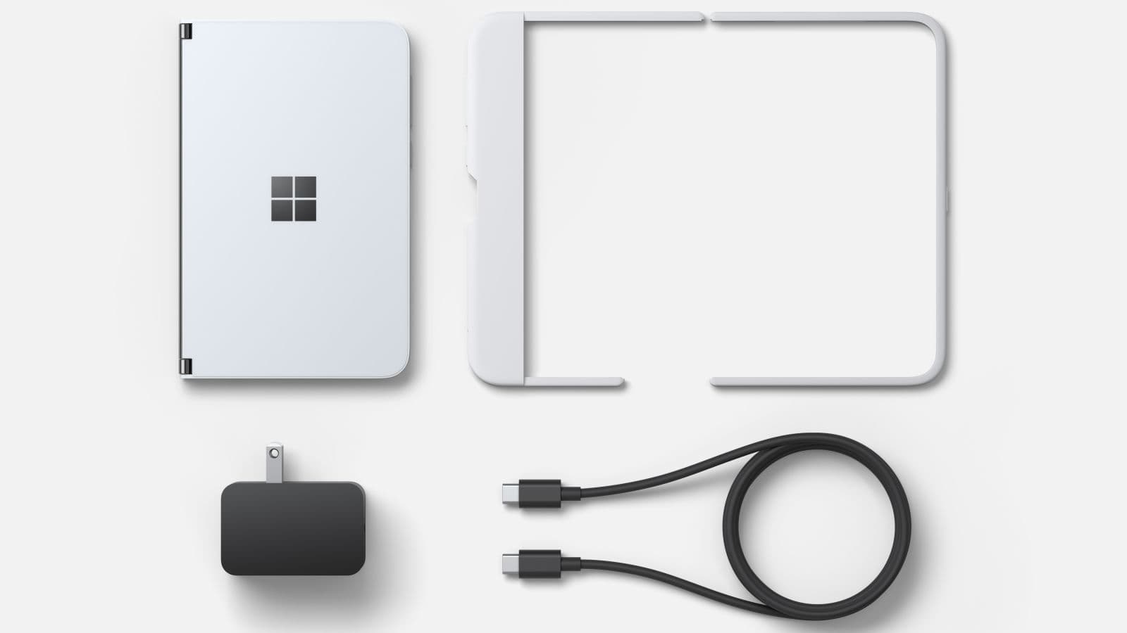 Junto com um adaptador de energia e um cabo, o Surface Duo também virá com uma capinha na caixa