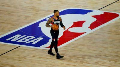 Damian Lillard do Portland Trail Blazers na bolha da NBA na Walt Disney World em Orlando, Flórida.