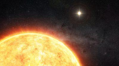 Ilustração hipotética com nosso Sol e seu irmão gêmeo brilhando ao fundo. Imagem por M. Weiss