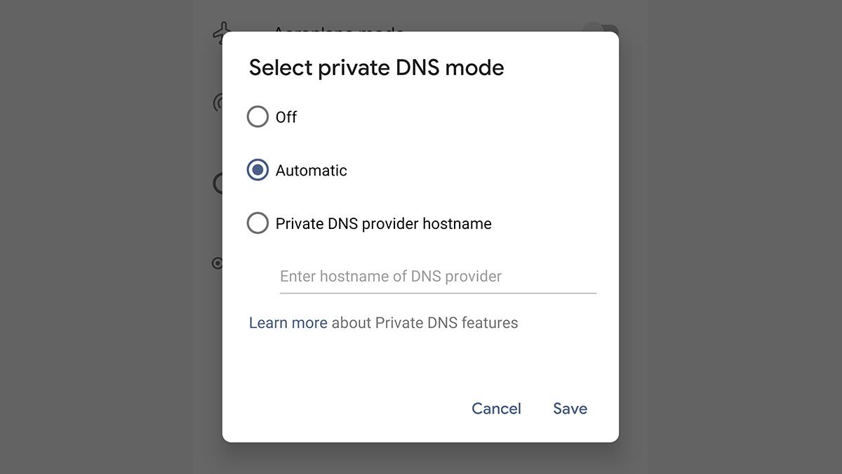 Tela para selecionar DNS