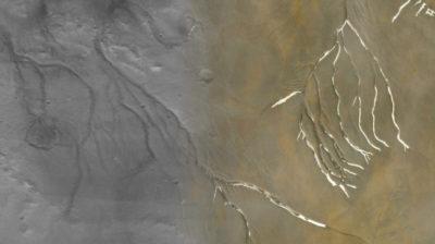 Uma colagem mostra vales de Marte (em cinza) sobreposta com canais da ilha Devon (bronze), revelando várias similaridades. Crédito: Anna Grau Galofre/Arizona State University