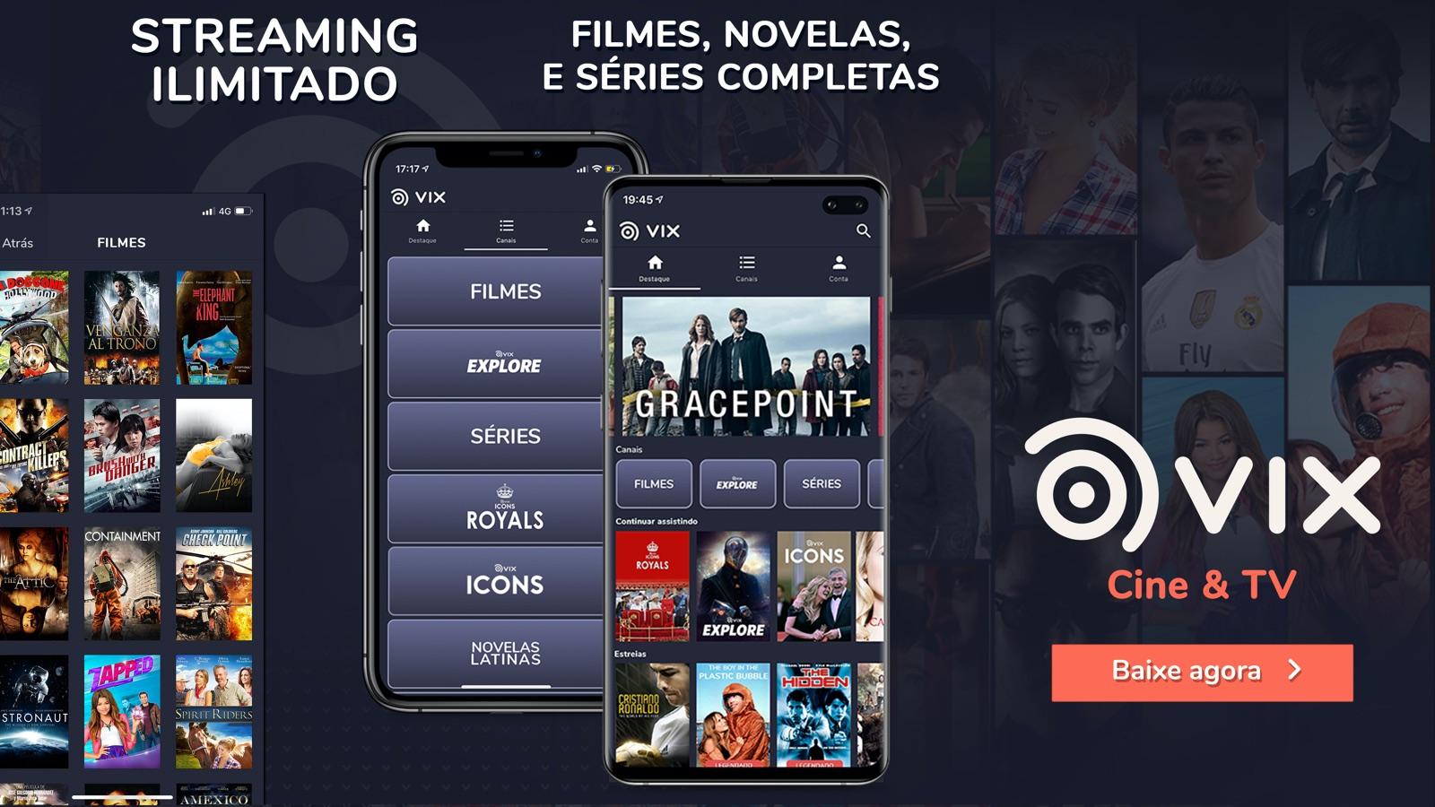 Capturas de tela do Vix Cine e TV