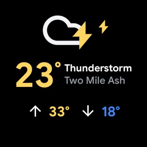 Tela de previsão do tempo do Wear OS