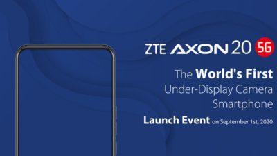 Material promocional de lançamento do ZTE Axon 20 5G