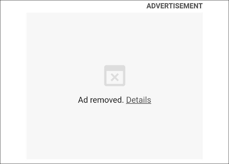 Anúncio bloqueado no Google Chrome. Crédito: Google