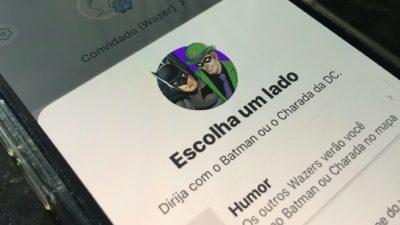 Waze adiciona vozes do Batman e Charada. Crédito: Caio Carvalho/Gizmodo Brasil