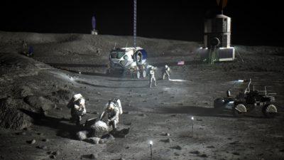Concepção artística da missão Artemis. Crédito: NASA